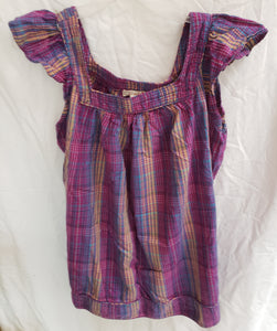OP Size xl juniors purple with tan,white pinstripe tanktop