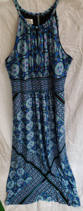 LONDON STYLE Juniors size14 spaghetti strap blue with pattern long dress