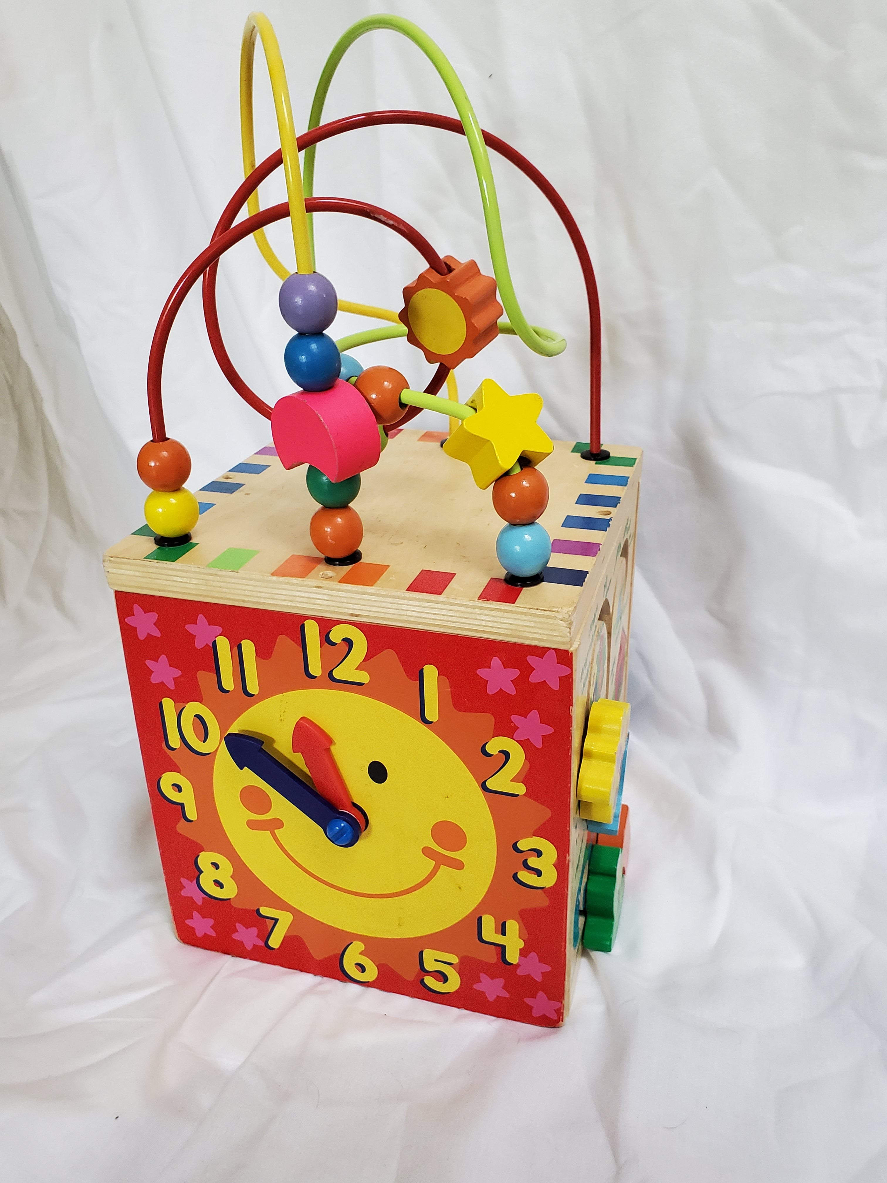 Activity cube - shoe tying, clock, bead chaser, number maze