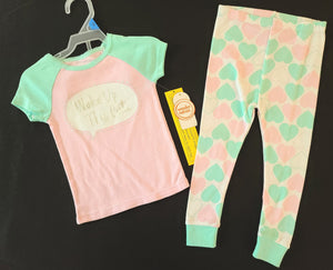 *NWT* WONDER NATION 2 pc pajamas - short sleeve top & long bottoms ; Girls 24m