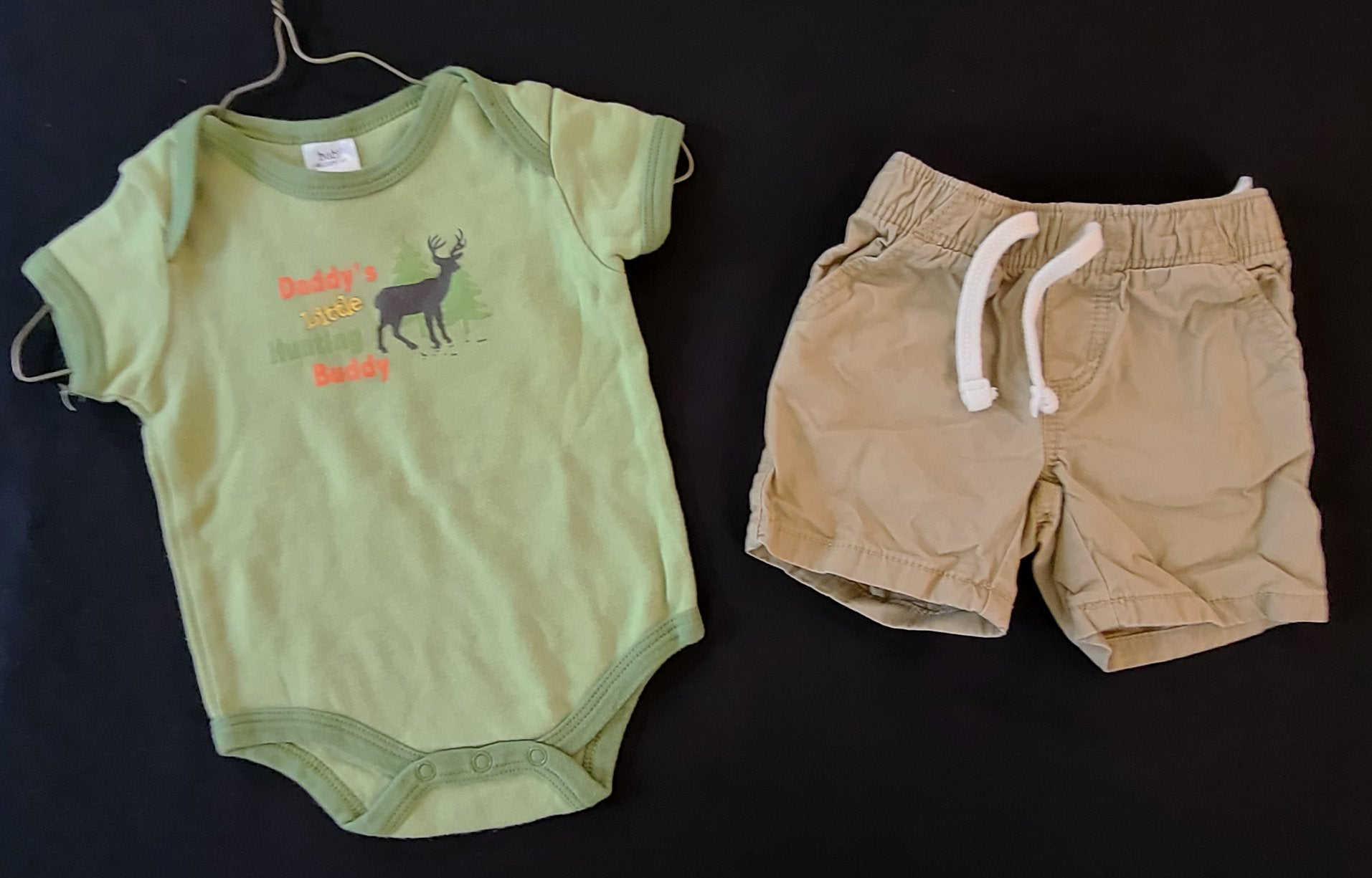 2 pc bundle - BABY ESSENTIALS bodysuit &  OLD NAVY shorts; Boys 3-6m