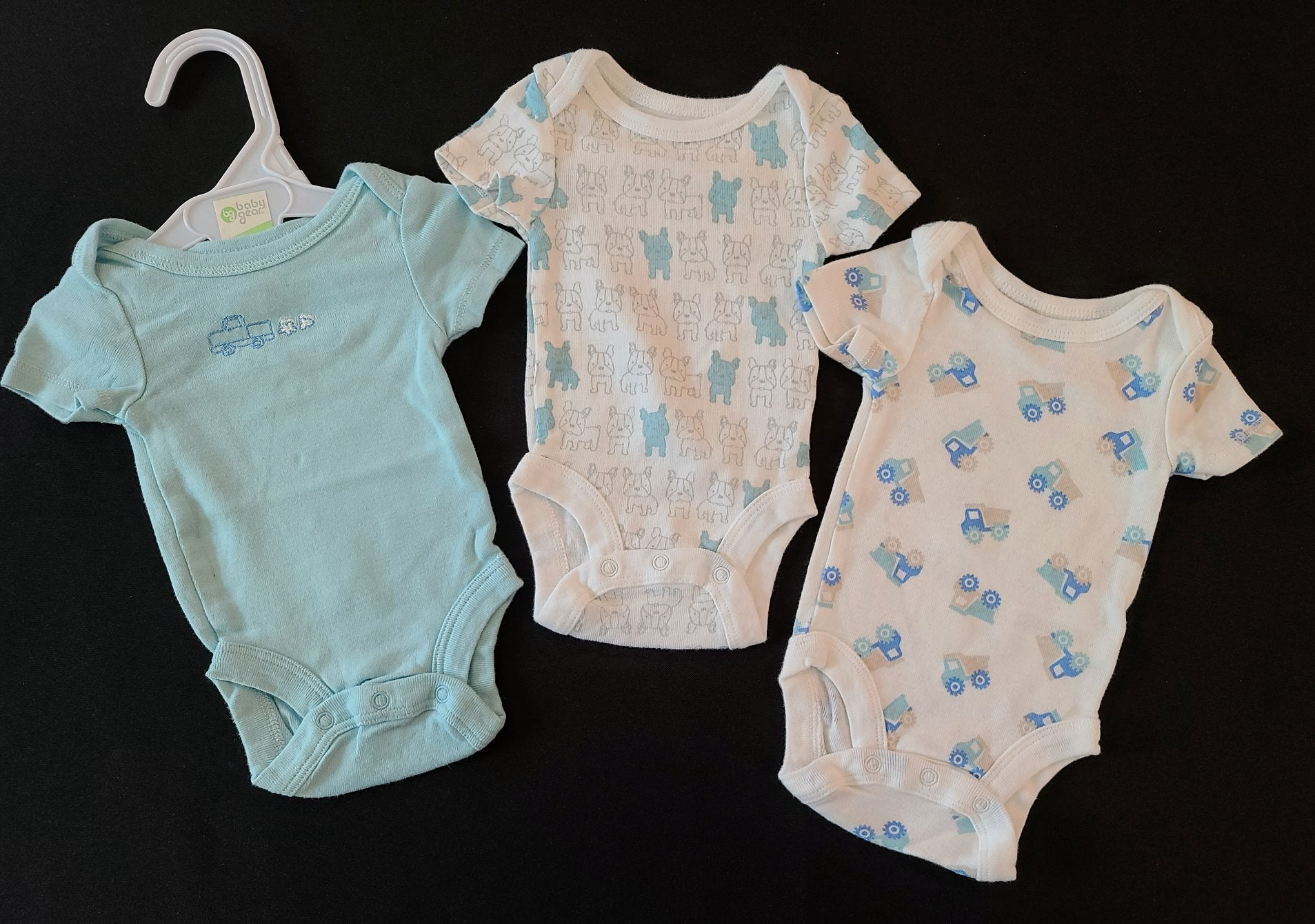BABIES R US 3 pc bundle - short sleeve bodysuits; Boys NB