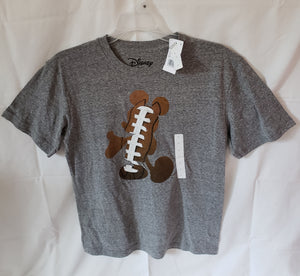 NWT DISNEY Mickey with football juniors size large grey tshirt