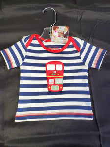 Rugged Butts SS Shirt Blue/White Striped 3-6 mo