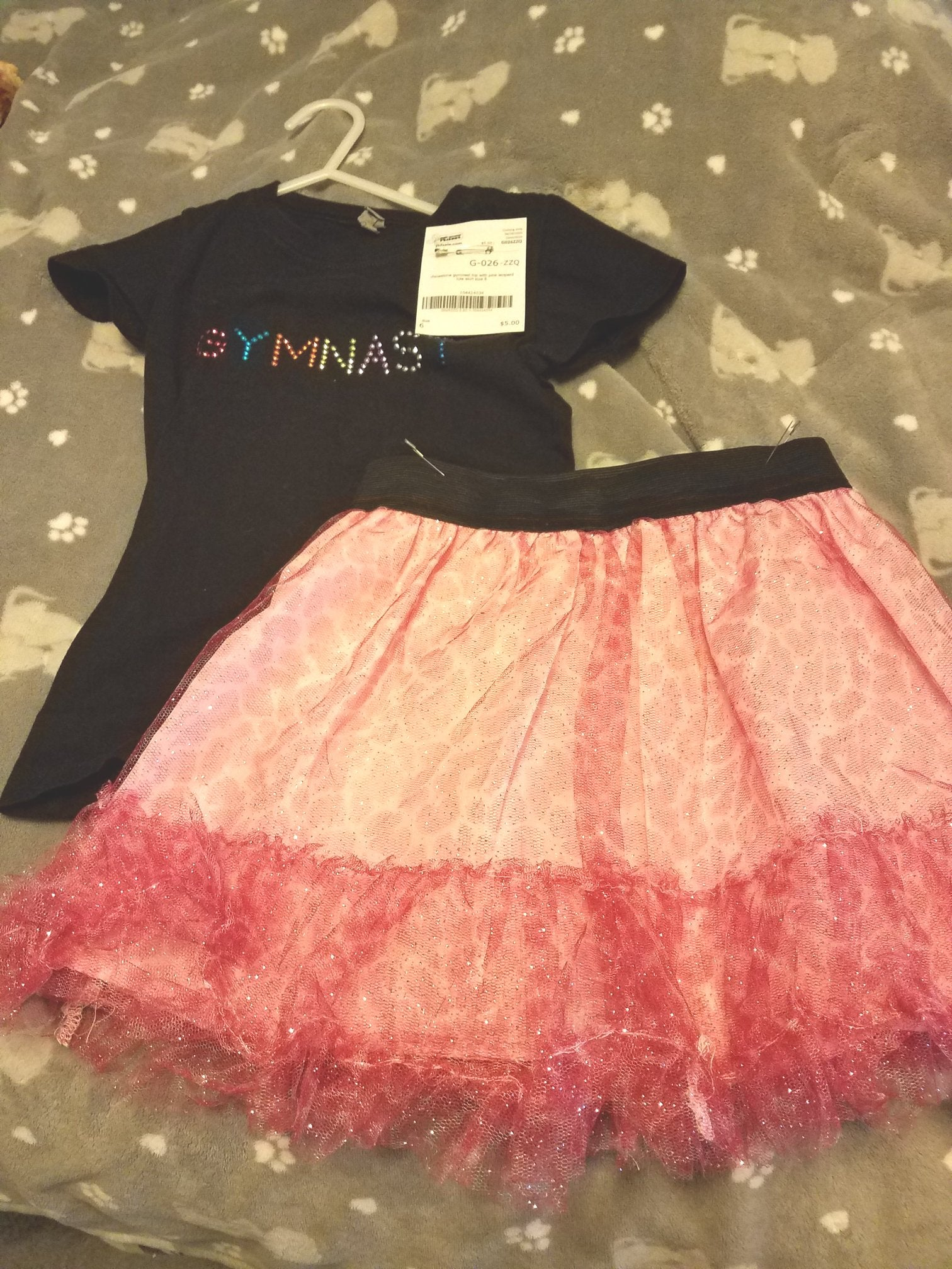 gymnast t with pink tulle skirt sz 6