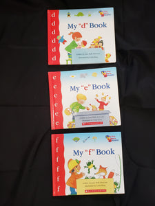 3 my first steps to reading books. my d book, my e book, and my f book