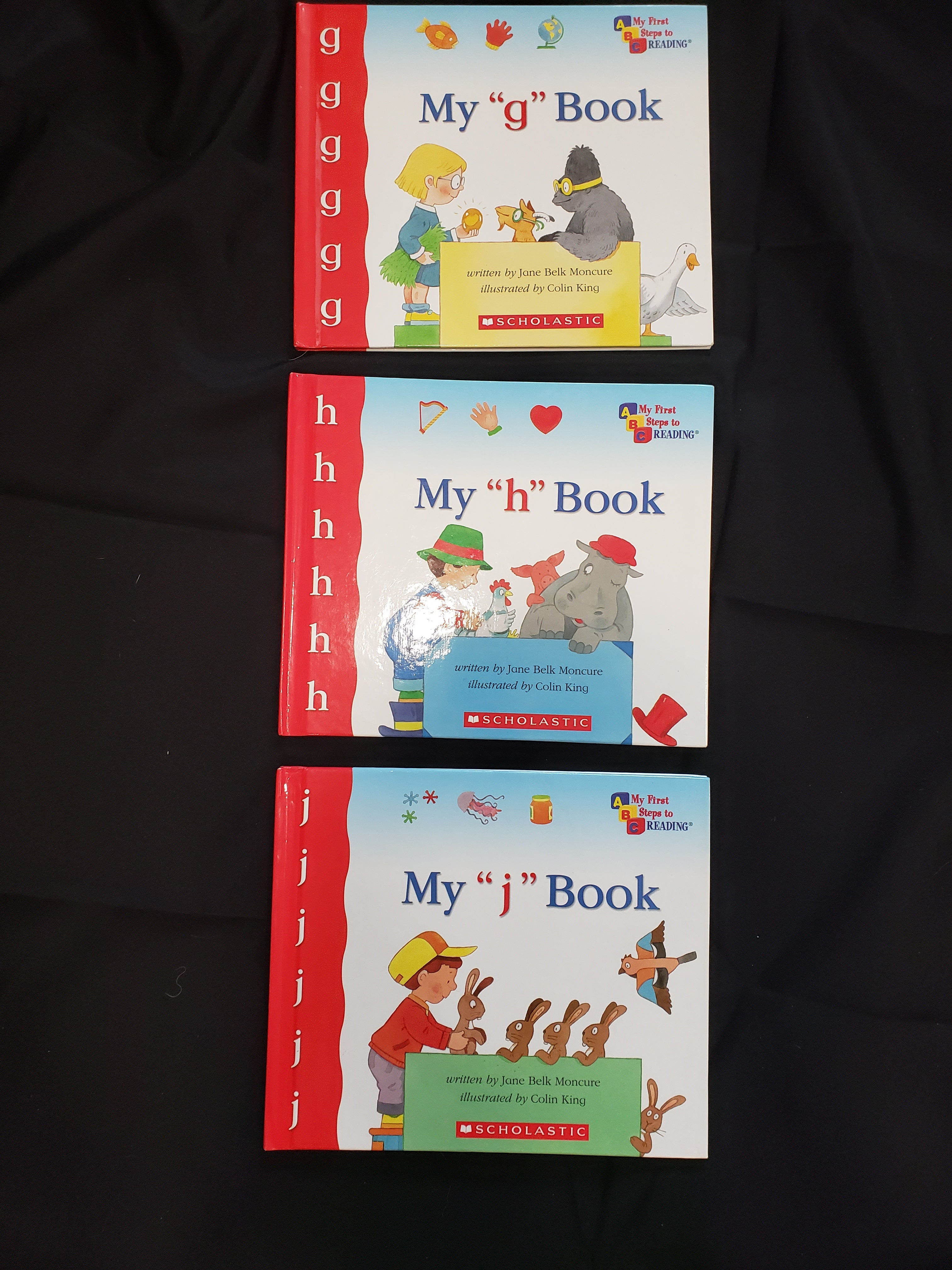3 my first steps to reading books. my g book, my h book and my j book