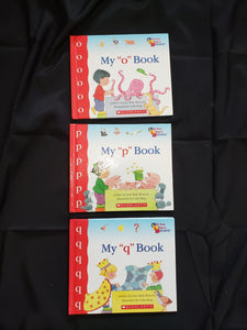 3 my first steps to reading books. my o book, my p book and my q book