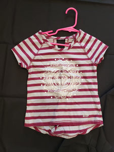 Girls size 5/6 maroon and grey striped shirt