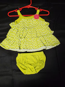 Carter's 2 pc set Dress Lime/White 3 mo
