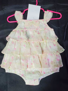 Fao Dress  Ruffles Yellow w/ Pink Flowers Girls 3 mo
