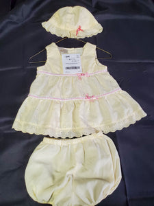 3 pc Set Yellow Dress/Bloomers/Hat Girls 6-9 mo
