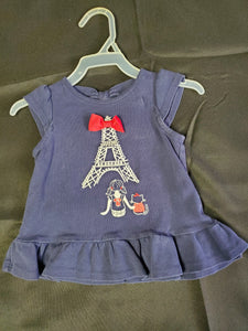 Gymboree Navy Blue/Red Shirt  Girls 6-12 mo
