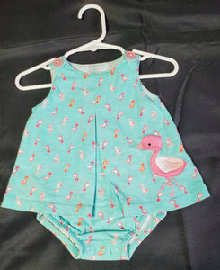 Blue Flamingo Bodysuit Dress Girls 6 mo