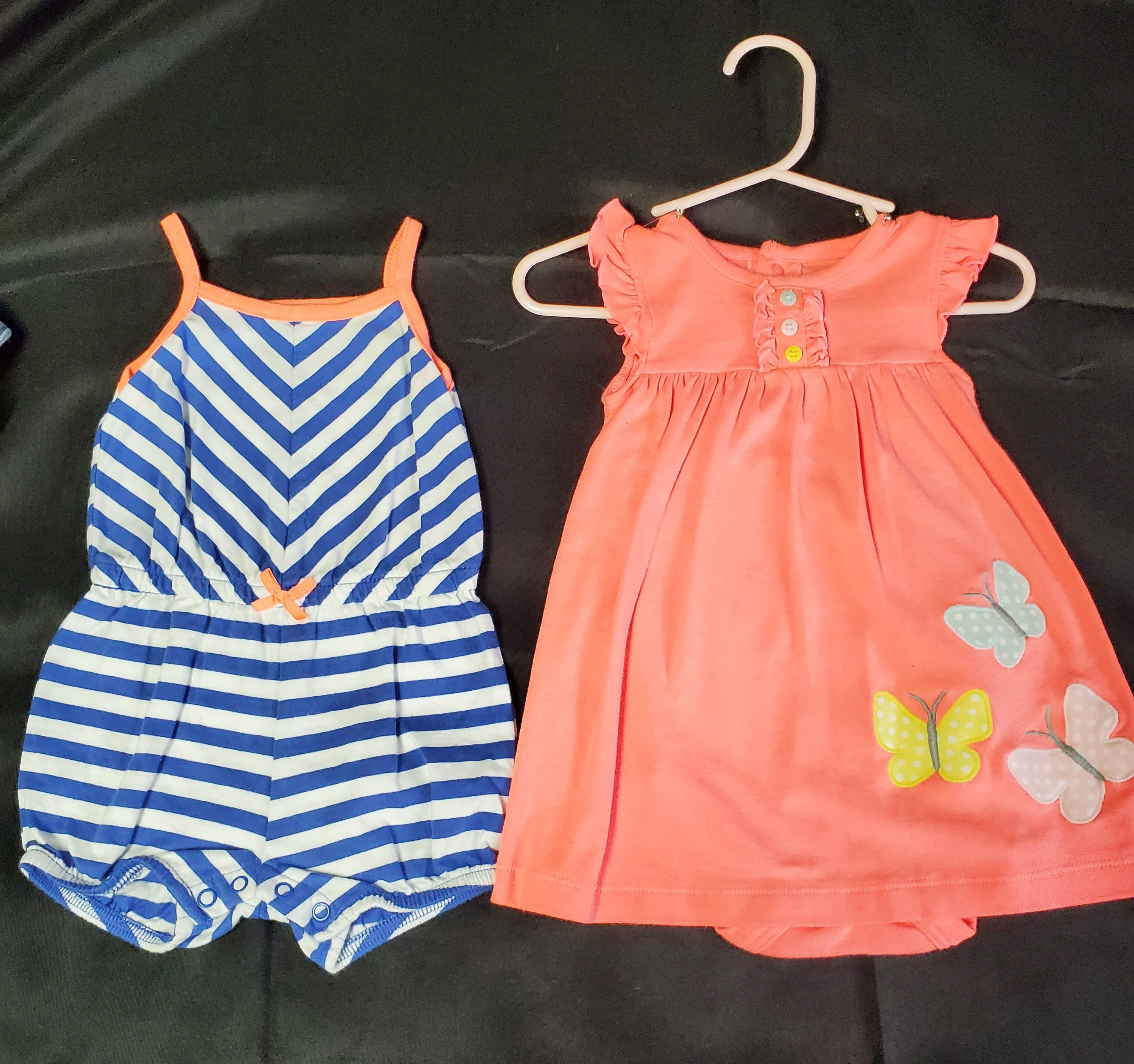 Carter's 2pc Romper & Dress Orange & Blue/Wht Girls 6 mo