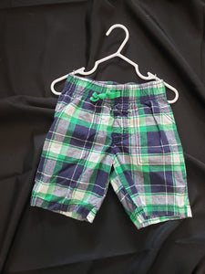 Carters 3T boys green, white and blue plaid shorts