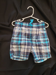 Carters boys 3T blue and white plaid shorts
