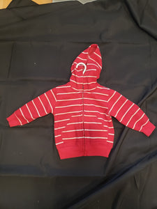Faded glory red and white striped zip up hoodie