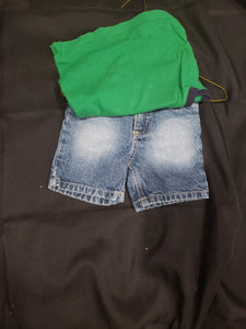 boys 18 month green sleeveless shirt and blue jean shorts