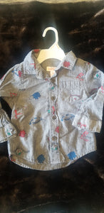 CAT AND JACK new without tags boys 12m grey long sleeve button up with dinos