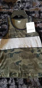 OLD NAVY green camo/grey tank, boys 6/7