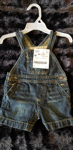 GENUINE BABY Jean overall shorts, boys NB