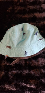 CARTERS teal fisherman style hat w/ocean theme, sz 12 to 24m
