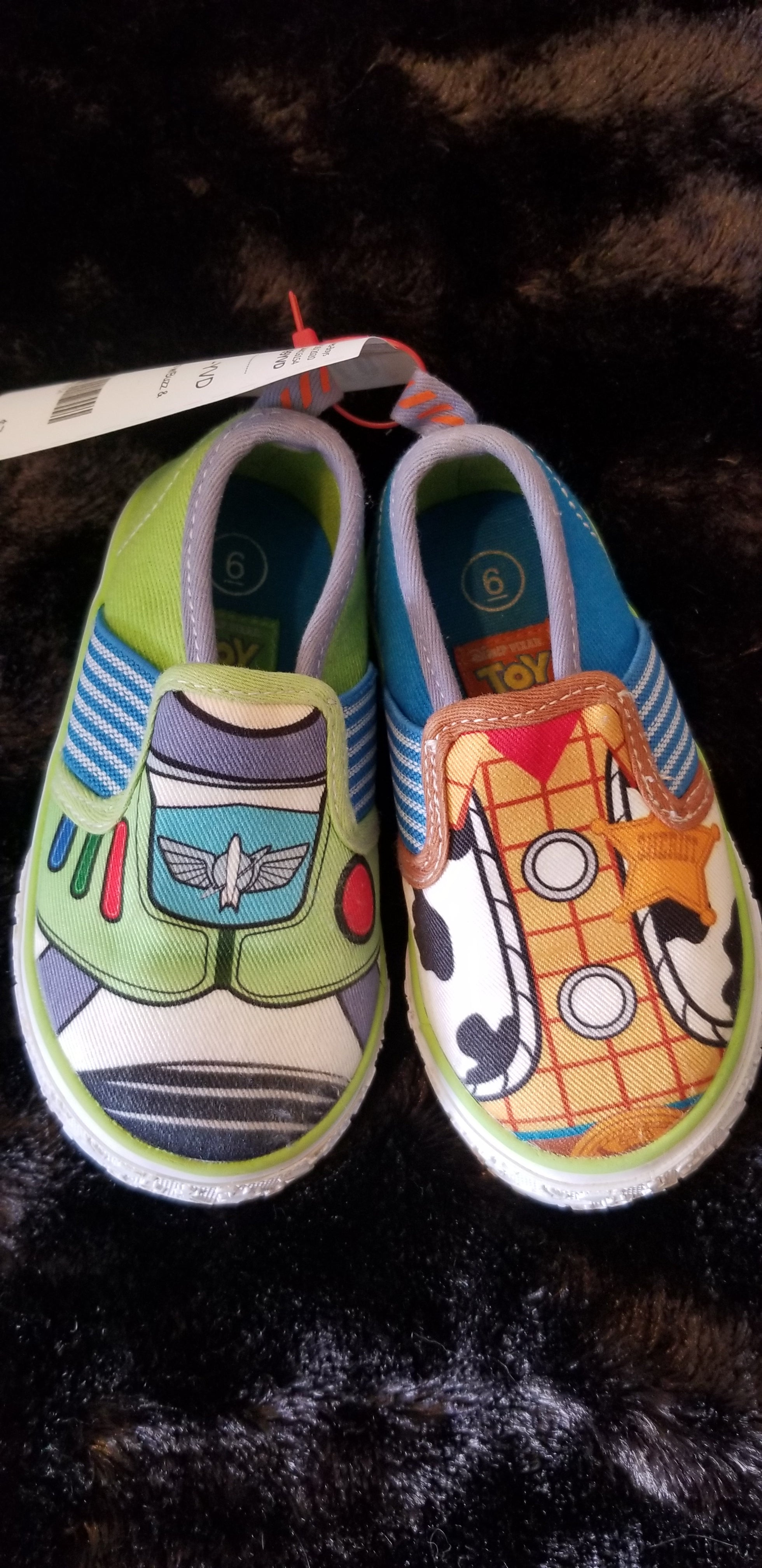TOY STORY blue/green slip on shoes w/Buzz & Woody, sz 6