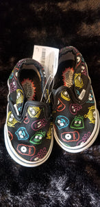 VANS black slip on shoes w/Yo Gabba characters, sz 5