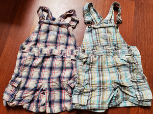 2 KOALA KIDS 3T plaid overalls