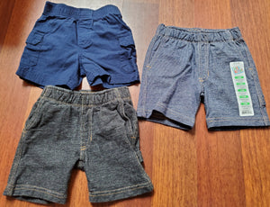 KIDS KORNER 3 Pair 12M shorts 1NWT 2 soft jean (black & blue) 1 blue