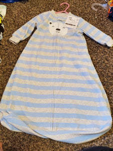 CARTERS 0-12 Sleep sack blue/grey stripe w/bear