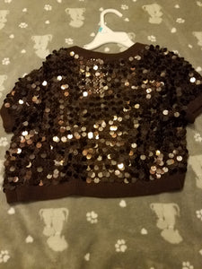 Brown sequin shoulder shrug cardigan size small fits 4 to 6