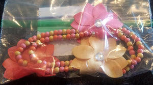 Pink/orange/yellow necklace w/flowers