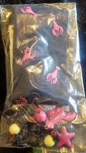 GYMBOREE 2PC NEW WITH TAGS black headband w/pink lobsters & lobster necklace