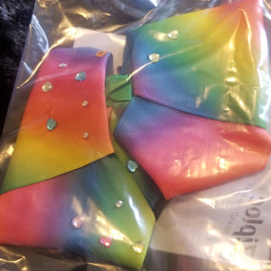 Rainbow bow hair clip w/gems