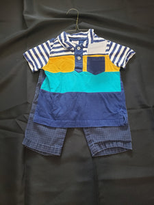 Gymboree size 12-18mo 2 piece outfit. Blue pants and polo shirt