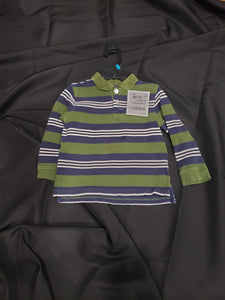 Green dog 4T green, blue and white striped long sleeve polo shirt
