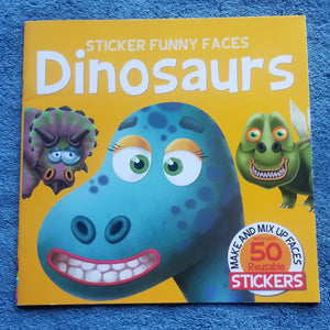 Sticker funny faces dinosaurs complete