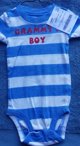 "CARTERS blue/white striped short sleeve onesie ""Grammys boy"" boys 18m"