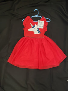 Cat and Jack 4T red sleeveless dress with a unicorn