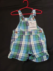 OshKosh B'gosh size 12mo blue and green plaid overall shorts
