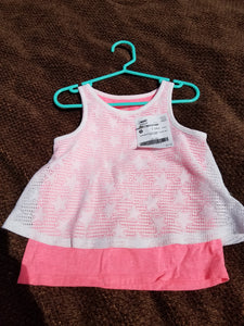Star coral and white layered tank size 4T