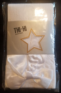 NEW IN PACKAGE white thigh hi tights w/white bow, juniors