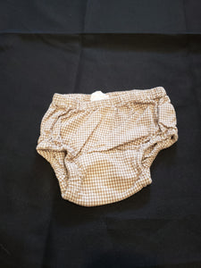 Brown and white checkered diaper cover size 3-6mo