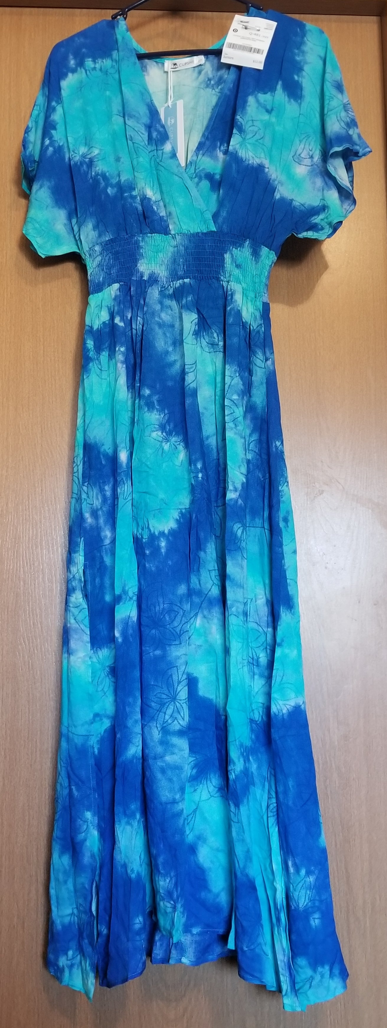CUPSHE NEW WITH TAGS SZ LARGE juniors blue/green patterned short sleeve dress, long