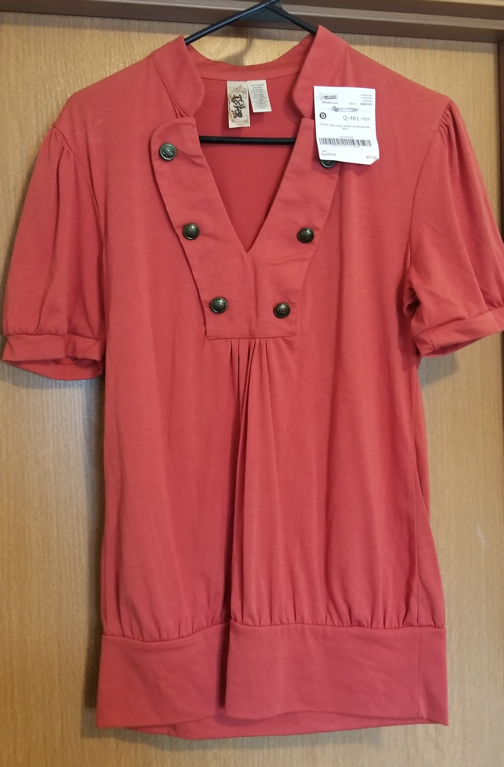 L8TER SZ LARGE juniors reddish short sleeve blouse