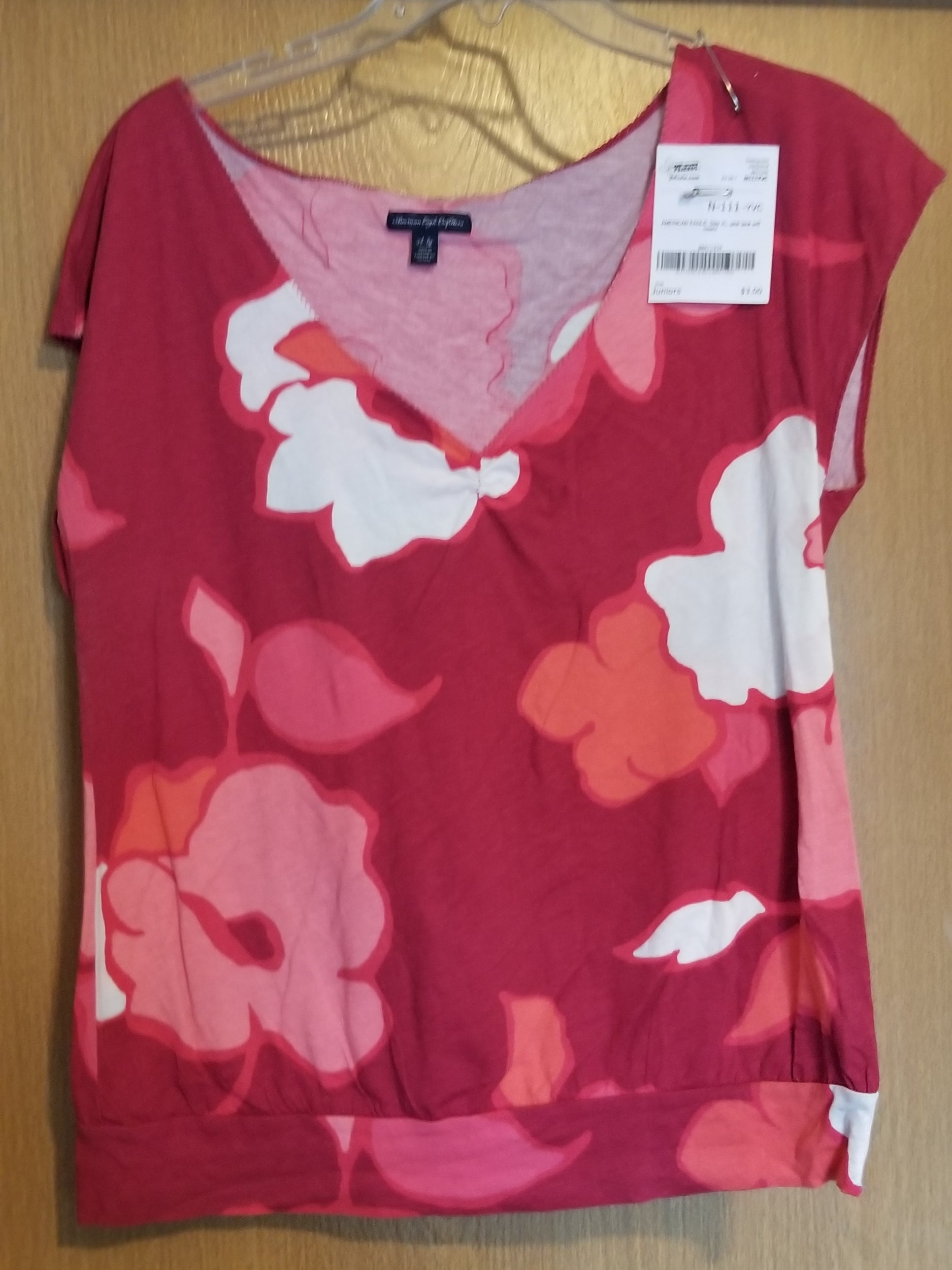AMERICAN EAGLE SZ XL juniors pink tank w/flowers
