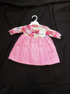 Baby Lulu pink dress with flowers and a matching hat