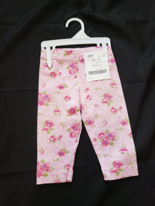 Pink size12mo pants with flowers